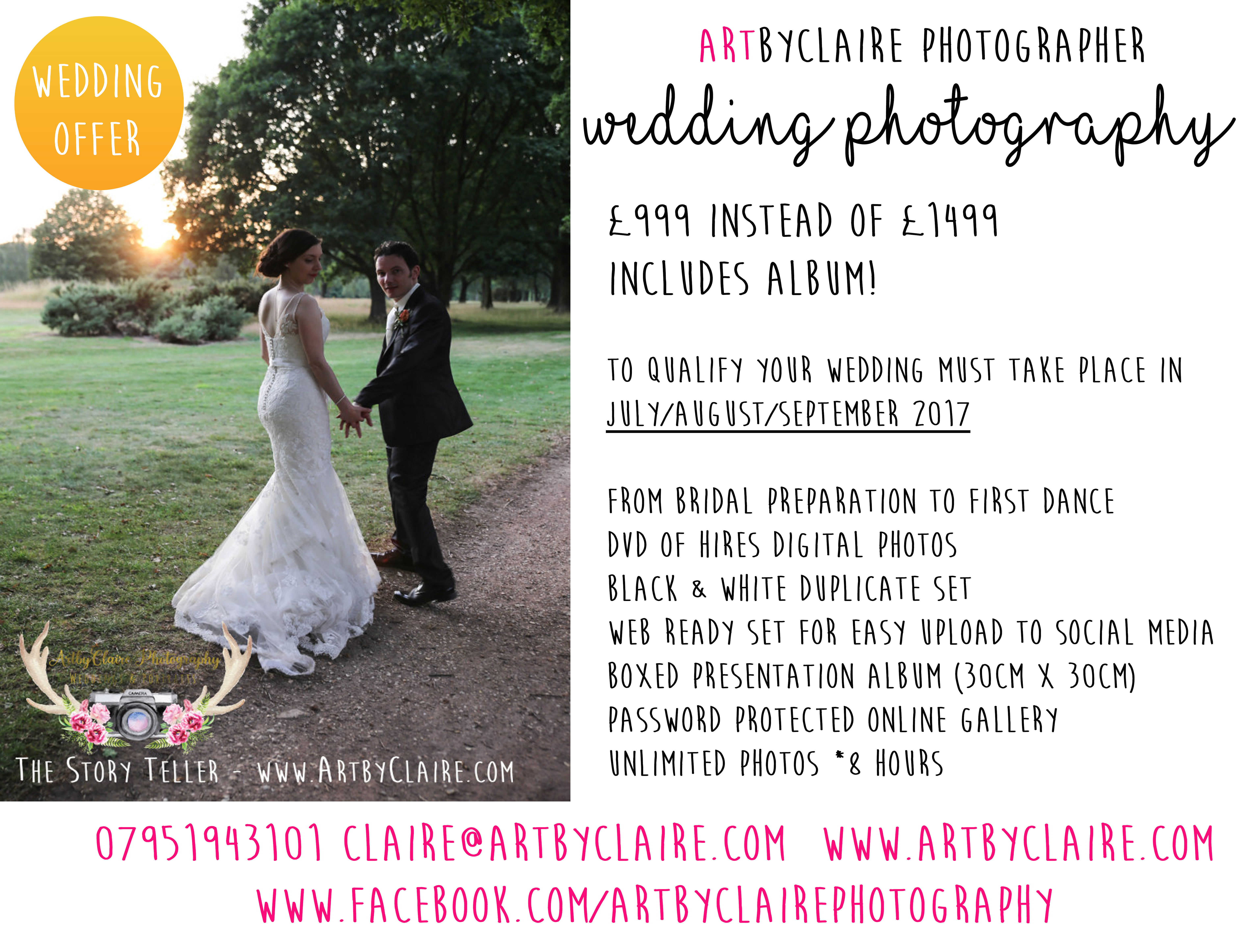 Last minute Photography Wedding Offer – ArtbyClaire Professional ...